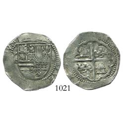 Potosi, Bolivia, cob 2 reales, Philip II, assayer B (1st period,  Lima style ).
