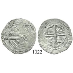 Potosi, Bolivia, cob 2 reales, Philip II, assayer L (HISPANIARVM)