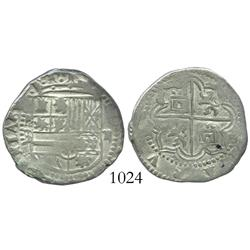 Potosi, Bolivia, cob 2 reales, Philip II, assayer B (3rd period).