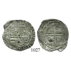 Potosi, Bolivia, cob 2 reales, Philip III, assayer R (straight-leg R), scarce variety.