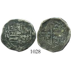 Potosi, Bolivia, cob 2 reales, Philip III, assayer R (curved-leg R).