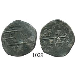 Potosi, Bolivia, cob 2 reales, Philip III, assayer not visible, rotated lions.