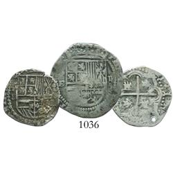 Lot of 3 Potosi small silver cobs of Philip II-III (one 2R and two 1R).