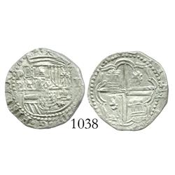 Potosi, Bolivia, cob 1 real, Philip II, assayer B (3rd period).