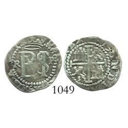 Potosi, Bolivia, cob 1/2 real, Philip II, assayer Rincon (R to left, P to right).