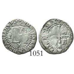 Potosi, Bolivia, cob 1/2 real, Philip II, assayer M (crude-style M), rare.