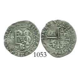 Potosi, Bolivia, cob 1/2 real, Philip II, P to left, assayer B/L below monogram.