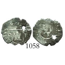 Potosi, Bolivia, cob 1/4 real, Philip II, assayer B (B to left of castle, P to right), rare.