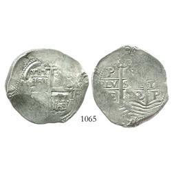 Potosi, Bolivia, cob 8 reales, 1672/1E, very rare overdate.