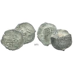 Lot of 2 Potosi, Bolivia, cob 8 reales, 167(?)E.