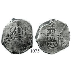 Potosi, Bolivia, cob 8 reales, 1715Y, scarce.