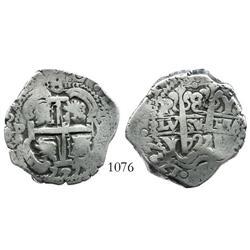 Potosi, Bolivia, cob 8 reales, 1727Y, Louis I, rare.