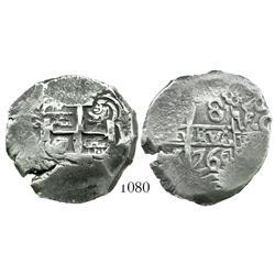 Potosi, Bolivia, cob 8 reales, 1764V-Y-V.