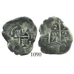 Potosi, Bolivia, cob 2 reales, 1671/0E, scarce overdate.