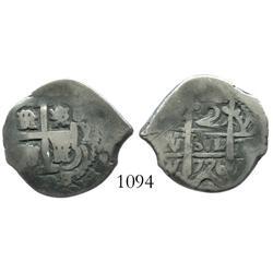 Potosi, Bolivia, cob 2 reales, 1726Y, Louis I, scarce.