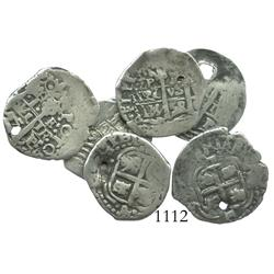 Lot of 6 Potosi, Bolivia, cob 1R, Philip IV, various dates, all assayer E.