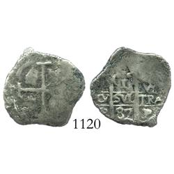 Potosi, Bolivia, cob 1 real, 1687VR.