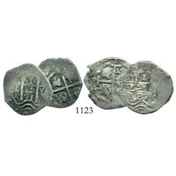 Lot of 2 Potosi cob 1R of Charles II: 1687VR and 1691VR.