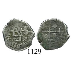Potosi, Bolivia, cob 1/2 real, (1656), one-year type with cross-backed monogram.