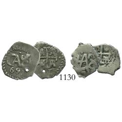 Lot of 2 Potosi, Bolivia, cob 1/2 reales, 1691 (holed) and 171?.