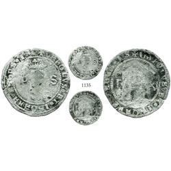Santo Domingo, Dominican Republic, billon (silver/copper) 11 maravedis, Charles-Joanna, assayer F, e
