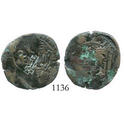 Santo Domingo, Dominican Republic, copper 4 maravedis, Charles-Joanna, assayer oF, with key counterm