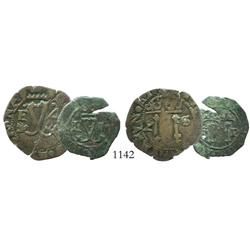 Lot of Santo Domingo, Dominican Republic, copper 4 and 2 maravedis, Charles-Joanna, assayer F, both