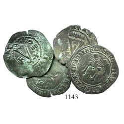 Lot of 4 Santo Domingo, Dominican Republic, copper 4 maravedis, Charles-Joanna, assayer F, nice spec