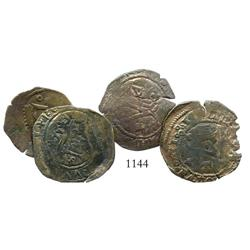 Lot of 4 Santo Domingo, Dominican Republic, copper 4 maravedis, Charles-Joanna, assayer F or oF.