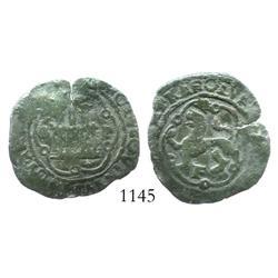 Santo Domingo, Dominican Republic, copper 4 maravedis, Charles V, assayer F, scarce.