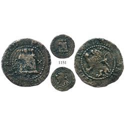 Santo Domingo, Dominican Republic, copper 2 maravedis, Philip II, assayer X, unique.