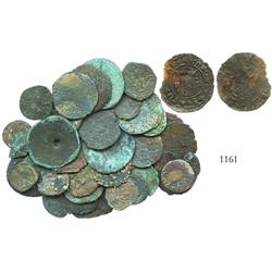 Lot of 43 miscellaneous copper coins used in local commerce in Panama in the mid-1500s, including an