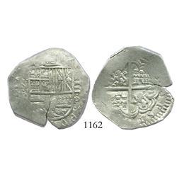Bogota, Colombia, cob 4 reales, Philip IV, assayer P (1627-32), unique error with HISPAN backwards i