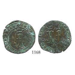 Seville, Spain (for the New World), copper 4 maravedis, Ferdinand-Isabel, rare.