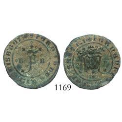 Burgos, Spain (for the New World), copper 2 maravedis, Ferdinand-Isabel, rare.