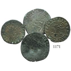 Lot of 4 copper 4 and 2 maravedis struck in Spain (Burgos and Seville) for use in the New World, Fer