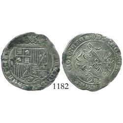 Burgos, Spain, 1 real, Ferdinand-Isabel, assayer scallop.