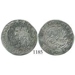 La Coruna, Spain, 1 real, Ferdinand-Isabel, assayer A, rare.