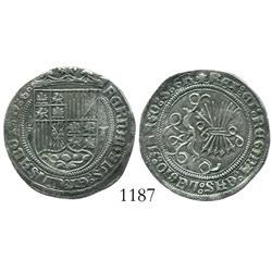 Toledo, Spain, 1 real, Ferdinand-Isabel, assayer 5 dots in cross pattern.