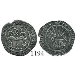 Toledo, Spain, 1/2 real, Ferdinand-Isabel, assayer 5 dots in cross pattern.