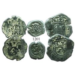 Lot of 3 Spanish copper cobs of Philip II and III, various mints.
