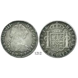 Potosi, Bolivia, bust 8 reales, Charles III, 1777PR.