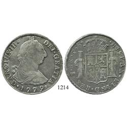 Potosi, Bolivia, bust 8 reales, Charles III, 1779PR.