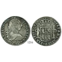 Potosi, Bolivia, bust 8 reales, Charles III, 1781PR.