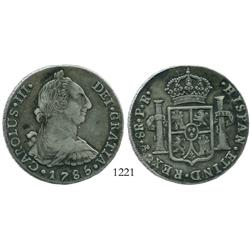 Potosi, Bolivia, bust 8 reales, Charles III, 1785PR.