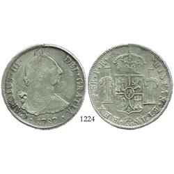Potosi, Bolivia, bust 8 reales, Charles III, 1787PR.