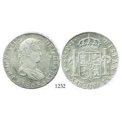 Potosi, Bolivia, bust 8 reales, Ferdinand VII (proper bust), 1808PJ, scarce.