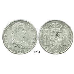 Potosi, Bolivia, bust 8 reales, Ferdinand VII, 1820PJ.