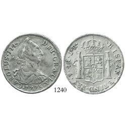 Potosi, Bolivia, bust 4 reales, Charles III, 1775JR, doubled-die obverse.