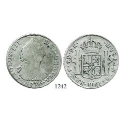 Potosi, Bolivia, bust 4 reales, Charles III, 1776JR, desirable date.